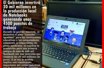 El Gobierno invertirá 20 mil millones en la producción local de notebooks generando unos 4500 puestos de trabajo